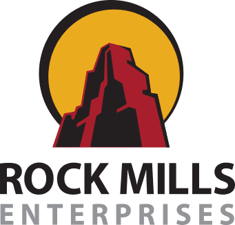 Rock Mills Enterprise logo: red mountain with yellow sun behind it